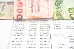 Bill of Thailand place on statement. Bill of Thailand with currency baht place on statement finance account Royalty Free Stock Photo
