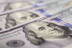 bill, $ 100 zamyka w górę widok gotówki pieniądze Obrazy Stock