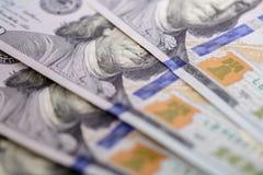 bill, $ 100 zamyka w górę widok gotówki pieniądze Zdjęcie Stock