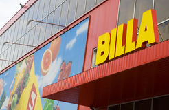 Billa supermarket. Billa supremarket building. Front view Royalty Free Stock Images