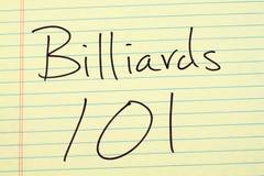 Billard 101 auf einem gelben Kanzleibogenblock Stockfotos