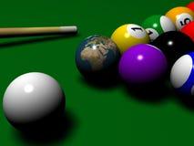Billard avec le globe instaed d'une boule Images libres de droits