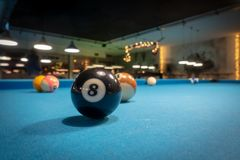 Billard balls before kickoff stock images