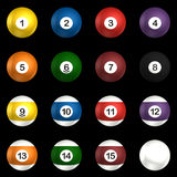 Billard balls pack 3d rendering. On isolated black background Royalty Free Stock Photos