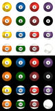 Billard balls pack 3d rendering. On isolated white and black background Stock Photo