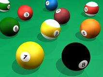 Billard balls pack 3d rendering pool Stock Photography