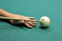 Billard play. Russian billard play, ball and cue on green cloth Royalty Free Stock Images