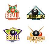 Billard, Pool und Snookersportikonen Stockfotografie