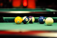 Billard table for playing tournament inside pub royalty free stock photo
