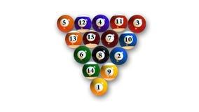 Billardkugeln in den verschiedenen Farben, Poolbälle auf weißem Hintergrund, Draufsicht Stockfoto