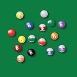 Billardkugeln vereinigen in der Vektorzeichnung der grünen Tabelle Lizenzfreies Stockfoto