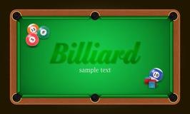 Billardplakat Billardtischhintergrundillustration mit Billardkugeln und Billard weißt Stockfotografie