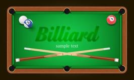 Billardplakat Billardtischhintergrundillustration mit Billardkugeln und Billardkreide und -stichwort Stockfotos