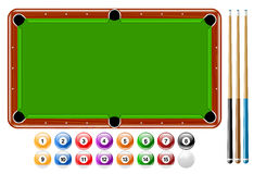 Billards, boules de piscine, ensemble de jeu de piscine Photo stock