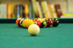 Billards. Pool balls on table, racked Stock Photos