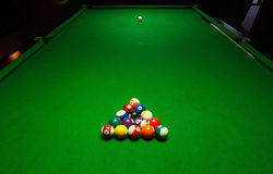 Billards pool game. Green cloth table Royalty Free Stock Photos
