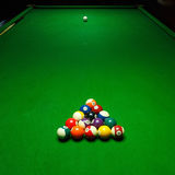 Billards pool game. Green cloth table. With coloful balls Stock Photo