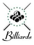 Billares y emblema de los deportes del billar Imagen de archivo