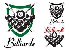 Billares y emblemas retros del billar fijados Fotografía de archivo libre de regalías