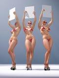 billboardów pusta mienia trzy kobieta Fotografia Stock