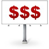 Billboard with. Big red dollars signs royalty free illustration