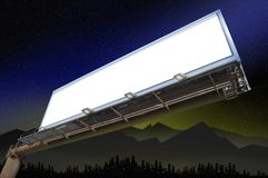 Billboard. A billboard waiting for copy or text with a city scape and mountains in the far background stock illustration