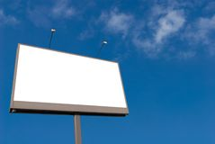 Billboard. Isolated on the white against sky Stock Photos