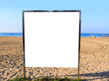 Billboard. On a sandy beach royalty free stock photos