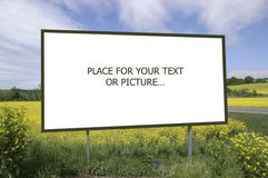Billboard. In yellow field, you can place you own text or picture stock images