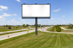 Billboard. On American Highway with Blue Sky royalty free stock images
