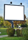 Billboard. White billboard at the park royalty free stock photos