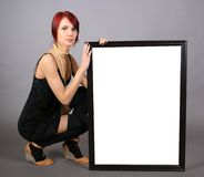 Billboard. Beautiful redhead girl with billboard stock images