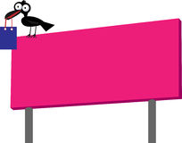 Billboard. Illustration of billboard or signboard with crow and shopping bag Stock Photography