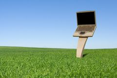 Billboard. Laptop billboard on the green field Stock Photo