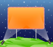Billboard. A blank billboard over starry dark blue sky with illumination royalty free illustration