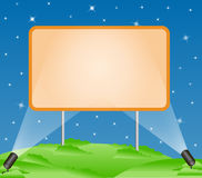 Billboard. A blank billboard over starry blue sky with illumination vector illustration