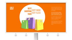 Billboard with ad of shopping tour isolated on white, background, 3D illustration. Banner with text design best brands. Best places. Discount action and Royalty Free Stock Image