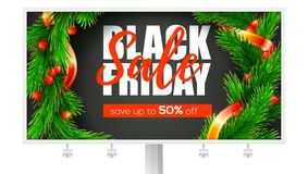 Billboard with ads of Black Friday sale. Holidays price reductions. Get Up to fifty percent discount. Banner with close. Up fir wreath and ribbon calligraphic stock illustration