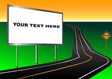 Billboard advertisement. On road with yield sign illustration Royalty Free Stock Images