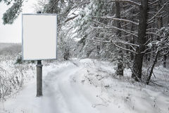 Billboard for advertising on background snowy forest landscape Stock Image