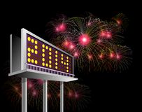 Billboard Advertising New year 2014. Illustration showing a billboard  advertising new year 2014 fireworks exploding  at night time Stock Images