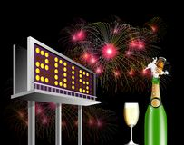 Billboard Advertising New year 2015. Illustration showing a billboard  advertising new year 2015 with wine and glass and fireworks at night time Royalty Free Stock Photography