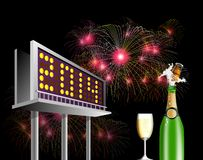 Billboard Advertising New year 2014. Illustration showing a billboard  advertising new year 2014 with wine and glass and fireworks at night time Stock Photo