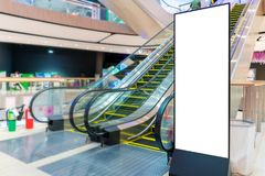 Billboard or advertising poster with empty copy space at Department store.  stock images