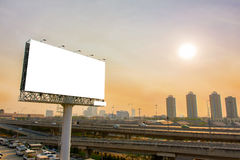 Billboard or advertising poster on highway for advertisement con. Cept background Stock Image