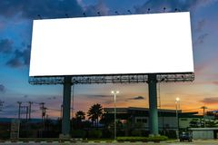 Billboard or advertising poster on highway in twilight time for Stock Image
