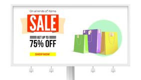 Billboard with advertising of sales. Get discount up to 75 percent, buy it now. Promotional poster with the text design. And paper bags for shopping, isolated Stock Photography