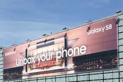 Billboard advertising for Samsung Galaxy S8 covering a facade of a building royalty free stock photo
