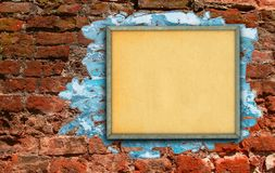 Billboard against brick wall Royalty Free Stock Photography