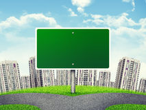 Billboard against high-rise buildings, curved Royalty Free Stock Photo